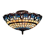 Landmark Lighting 3-Light Semi-Flush Victorian Ribbon Stained Glass With Classic Bronze Finish