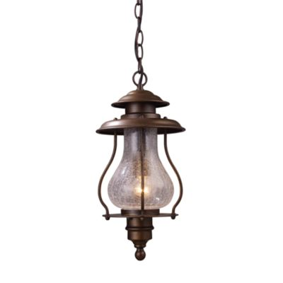 Wikshire Single-Light Outdoor Pendant With Coffee Bronze Finish