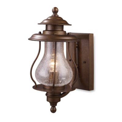 ELK Lighting Wikshire Single-Light Outdoor Sconce With Crackled Glass Shade in Coffee Bronze