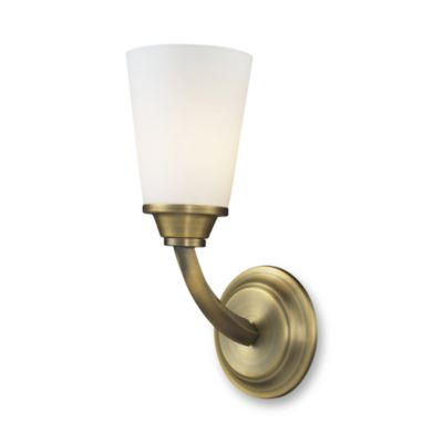 Blown Glass Vanity Light : Winthrop Brushed Antique Brass Finish 1-Light Vanity With Opal Blown Glass Shade - Bed Bath & Beyond