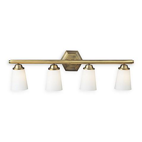 winthrop antique brass 4 light vanity fixture bed bath beyond. Black Bedroom Furniture Sets. Home Design Ideas