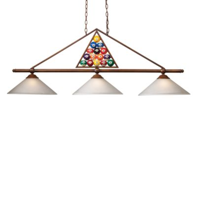 Billiard 3-Light Fixture with Wood Patina and White Glass