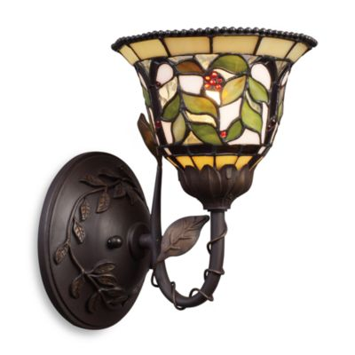 Latham Tiffany Bronze Finish With Highlights 1-Light Sconce With Tiffany-Style Glass Shade