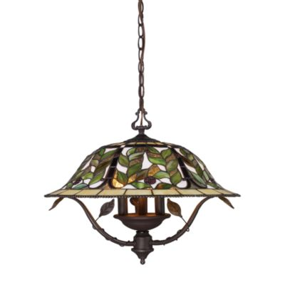 Latham Tiffany Bronze Finish With Highlights 3-Light Chandelier With Clear Water Glass Shade