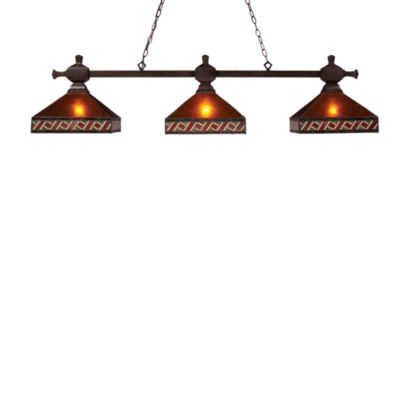 Santa Fe 3-Light Billiard/Island Fixture With Mica Shades