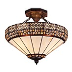 ELK Lighting Stone Filigree 3-Light Art Glass Semi-Flush Finished in Burnished Copper