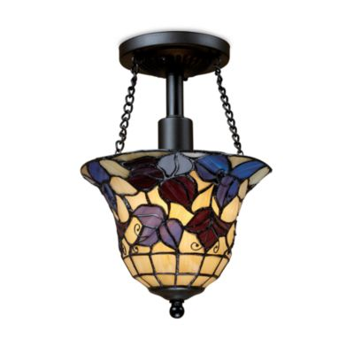 Elk Lighting 1-Light Semi-Flush Art Glass Fixture Finished in Tiffany Bronze