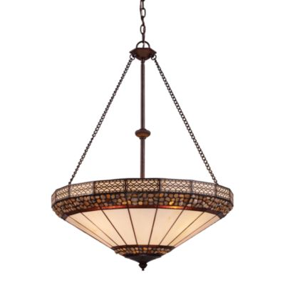 Elk Lighting Stone Filigree 4-Light Pendant Ceiling Lamp in Burnished Copper