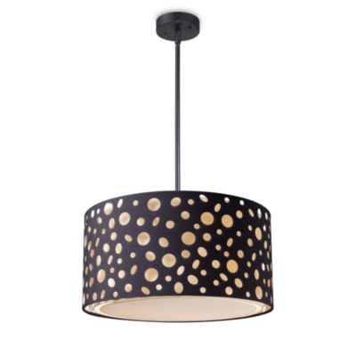 Enchantment Drum-Shade Pendant with 3-Lights in Matte Black