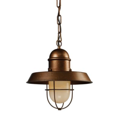 Farmhouse 1-Light Pendant in Bellwether Copper and Antique Brass