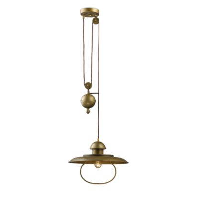 Elk Lighting Farmhouse 1-Light Pull-Down Pendant Ceiling Lamp in Antique Brass