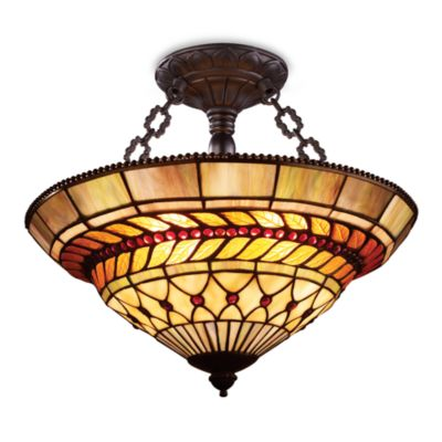 Elk Lighting Art Glass Leaf 3-Light Semi-Flush Finished in Tiffany Bronze