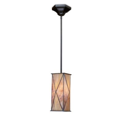 Elk Lighting Grand Facet Art Glass 1-Light Pendant Finished in Tiffany Bronze