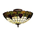 Elk Lighting 3-Light Semi-Flush Grapevine Stained Glass With Vintage Antique Finish