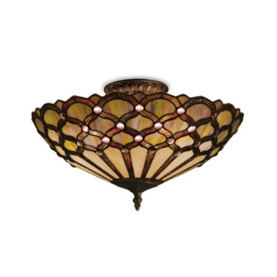ELK Lighting Jewel 3-Light Semi-Flush Mounted Ceiling Lamp in Tiffany Bronze