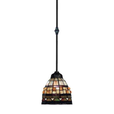 Jewelstone 30-Inch Classic Bronze Finish 1-Light Pendant With Tiffany-Style Glass Shade