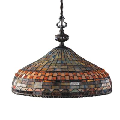 Elk Lighting Tiffany-Style Jewelstone 3-Light Pendant Finished in Classic Bronze