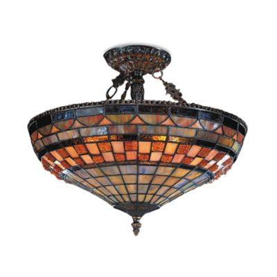 ELK Lighting Jewelstone 3-Light Semi-Flush 14-Inch Ceiling-Mounted Light W/Tiffany Shade