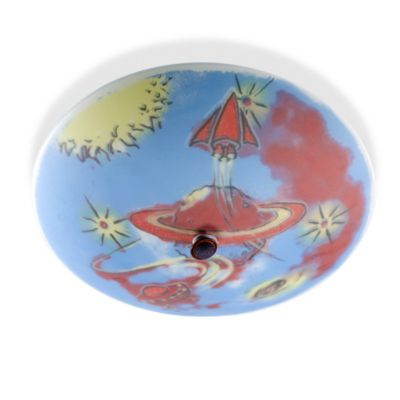 Kidshine Galactic Explorer Semi Flush 3-Light Overhead Fixture With Silkscreen Print Glass Shade