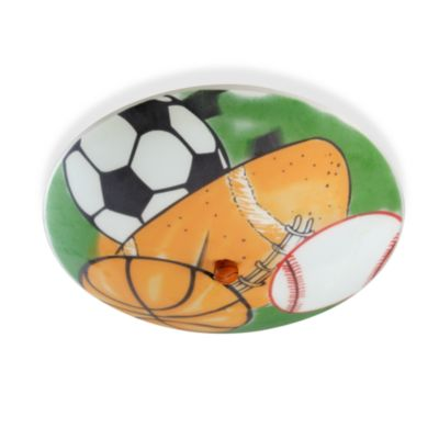 Kidshine Sports-Themed Semi Flush 3-Light Ceiling Fixture With Silkscreened Glass Shade