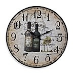 French Wine Bottles Wall Clock