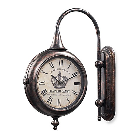 Antique Double-Sided 17-Inch Wall Clock