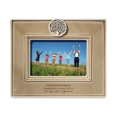 Grandchildren 4-Inch x 6-Inch Ceramic Frame in Taupe