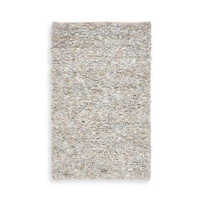 Safavieh White Leather Shag 3-Foot x 5-Foot Rectangle Rug