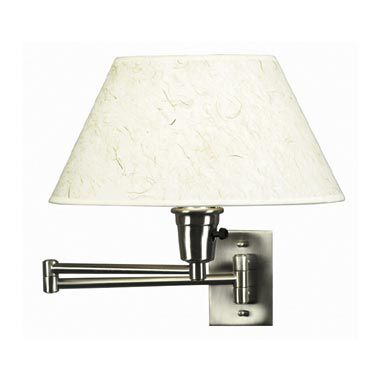 Kenroy Home Brushed Steel Swing Arm Sconce Lamp with Natural Fiber Shade
