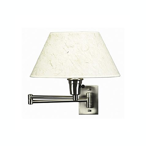 Brushed Steel Swing Arm Sconce Lamp with Natural Fiber Shade