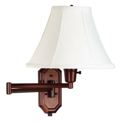 Bronze Swing Arm Sconce Lamp with Bell Shade