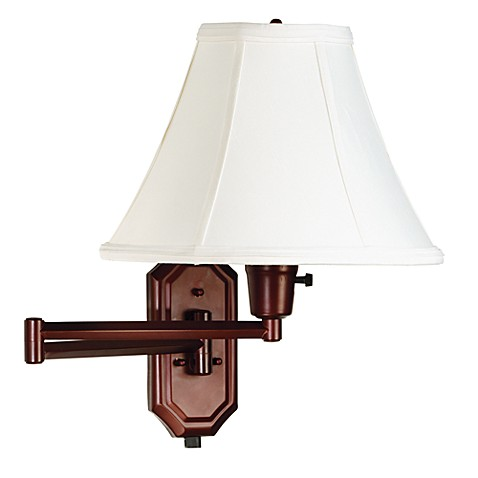 Kenroy Home Bronze Swing Arm Sconce Lamp with Bell Shade
