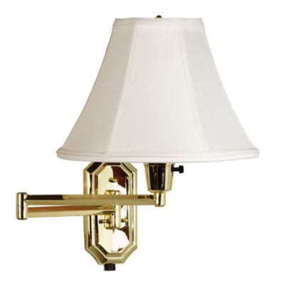Kenroy Home Brass Swing Arm Sconce Lamp with Bell Shade