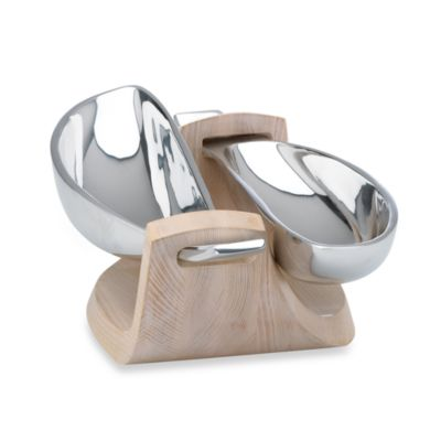Dansk® Torq Metal and White Woods 2 Dish Server
