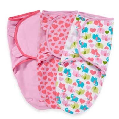 Swaddles > SwaddleMe® 3-Pack Small/Medium Adjustable Infant Wraps by Summer Infant®  in Elephants