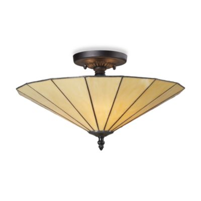 Elk Lighting Lumino 3-Light Semi-Flush Ceiling Lamp in Matte Black/Beige
