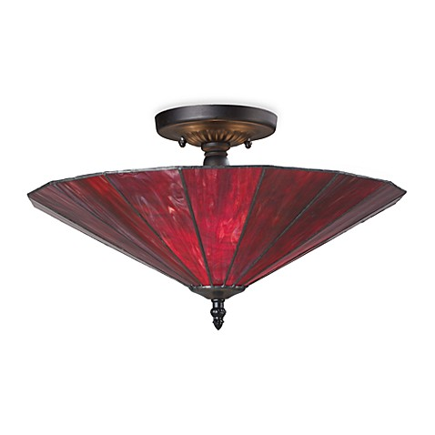 ELK Lighting Lumino 3-Light Semi-Flush Ceiling Lamp in Matte Black/Inferno Red