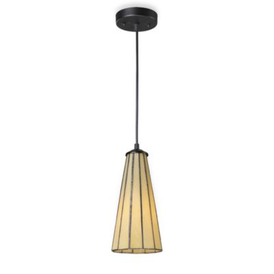 Elk Lighting Lumino 1-Light Pendant Ceiling Lamp in Matte Black/Beige