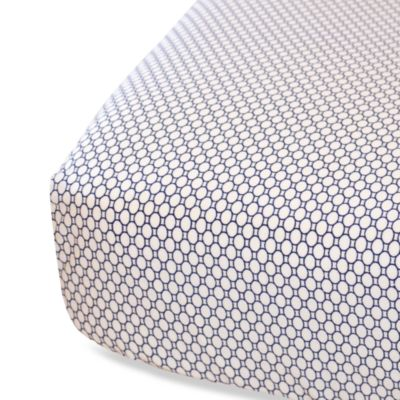 Oliver B Fitted Crib Sheet in White/Navy
