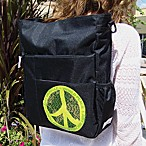 Amy Michelle™ Eco™ Diaper Bag in Black with World Peace Logo