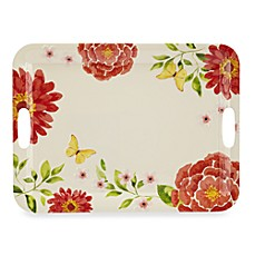 Pastel Floral Melamine 20-Inch Handled Rectangular Tray