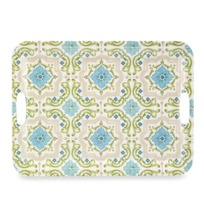 "Tableaux Tile Melamine 19 4/5"" Rectangular Serving Tray with Handles"