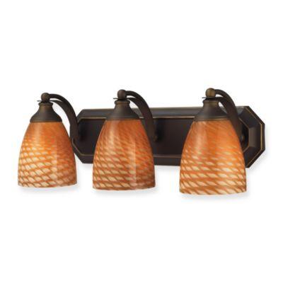 ELK Lighting 3-Light Vanity in Aged Bronze/Coco Glass