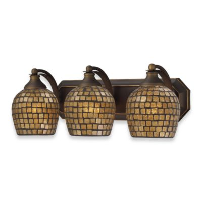 ELK Lighting 3-Light Vanity in Aged Bronze/Gold Mosaic Glass