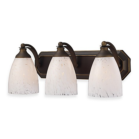 ELK Lighting 3-Light Vanity in Aged Bronze/Snow White Glass