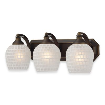 ELK Lighting 3-Light Vanity in Aged Bronze/Silver Mosaic Glass