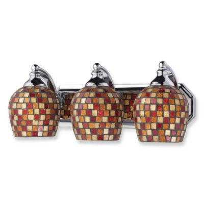 ELK Lighting 3-Light Vanity Polished Chrome/Copper Mosaic Glass