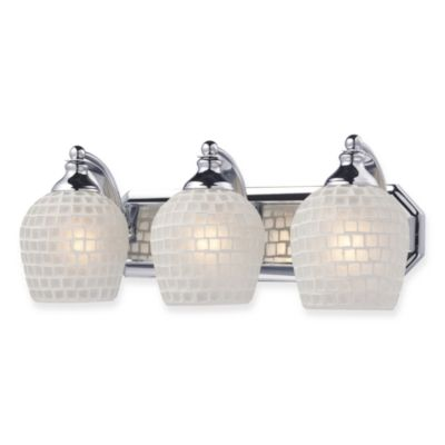 ELK Lighting 3-Light Vanity Polished Chrome/White Mosaic Glass