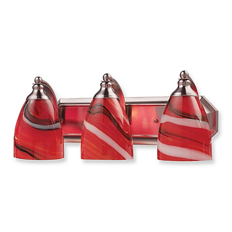 ELK Lighting 3-Light Vanity Satin Nickel/Red Candy Glass