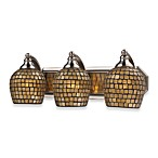 Satin Nickel And Gold Mosaic Glass 3-Light Vanity Fixture